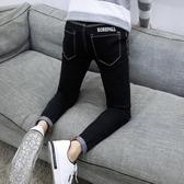 夏季黑色彈力九分牛仔褲男士韓版修身小腳褲潮流男裝春秋款男褲子「艾瑞斯居家生活」