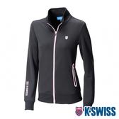 【超取】K-SWISS Contrast Knit Jacket運動外套-女-黑