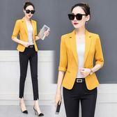 小西裝女外套春季韓版女裝七分袖純色修身西服短外套女-BB奇趣屋