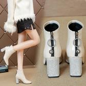 漆皮短靴女水鑽粗跟後拉鍊短筒潮韓版方頭高跟馬丁靴女2020新款秋