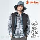 荒野WILDLAND 男款彈性針織格紋保暖襯衫 0A82206 深藍色 格紋襯衫 排汗襯衫 休閒襯衫 OUTDOOR NICE