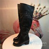 馬丁靴  單里59072歐美春秋冬季馬丁靴高筒靴中跟厚底長筒靴瘦腿長靴靴子