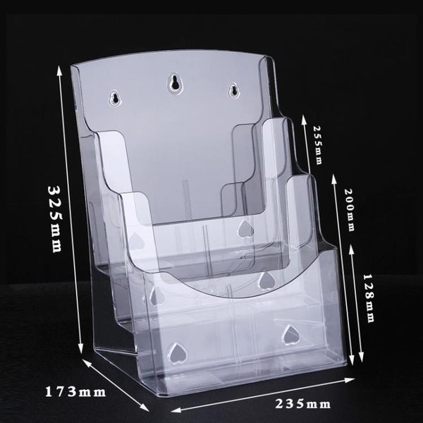 3層廣告宣傳臺式雜志擺放架/壓克力透明資料架/A4三層書報展示架 小明同學