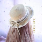 森繫田園軟妹lolita日常蕾絲花邊蝴蝶結格子草帽甜美日繫洋裝帽子 全館免運折上折