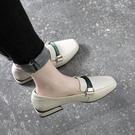 單鞋女2020新款足意爾康女鞋秋季粗跟平底百搭中跟方頭樂福鞋 【端午節特惠】
