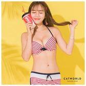 Catworld 繽紛野梅。撞色條紋綁帶泳裝組【16600308】‧F