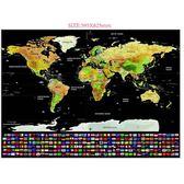 彩色版黑色刮刮國旗地圖 美國加拿大州帶分界線黑底旅游世界地圖  IGO