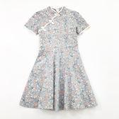 夏季日系新款女裝改良旗袍中長款可愛少女短袖裙子時尚洋裝 卡布奇诺