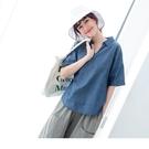 《AB12091-》高含棉V領質感丹寧襯衫短袖上衣 OB嚴選