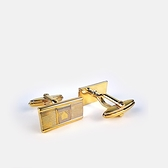 LANVIN双色刻紋金屬袖扣(金色)880062-23
