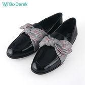 【Bo Derek 】格紋綁帶樂福鞋-黑色