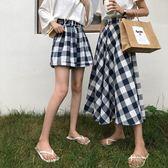 A7seven 復古格子苧麻闊腿短褲女夏季2018新款寬鬆顯瘦休閒大碼褲  檸檬衣舍