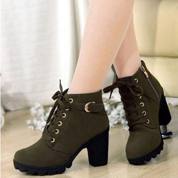 短靴 新款韓版高跟粗跟女靴子繫帶短筒靴女短靴馬丁靴單靴女鞋棉靴 『夢娜麗莎精品館』