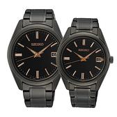 【台南 時代鐘錶 SEIKO】精工 SUR511P1 SUR513P1 藍寶石鏡面 日期顯示 鋼錶帶對錶 黑/玫瑰金