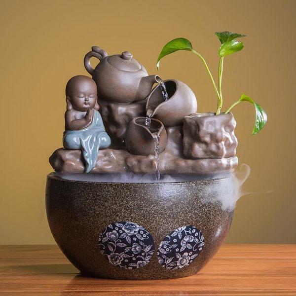 客廳室內裝飾品水景招財魚缸禪意桌面噴泉【步行者戶外生活館】