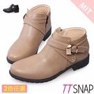 短靴-TTSNAP MIT個性交叉釦帶低跟踝靴 黑/駝