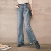 MUMU【P68606】可調式腰圍。寬鬆顯瘦牛仔直筒寬褲(可用鈕扣調整腰圍)