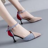 小清新高跟鞋2021春款百搭性感一字扣尖頭低跟鞋女仙女風細跟單鞋 歐歐
