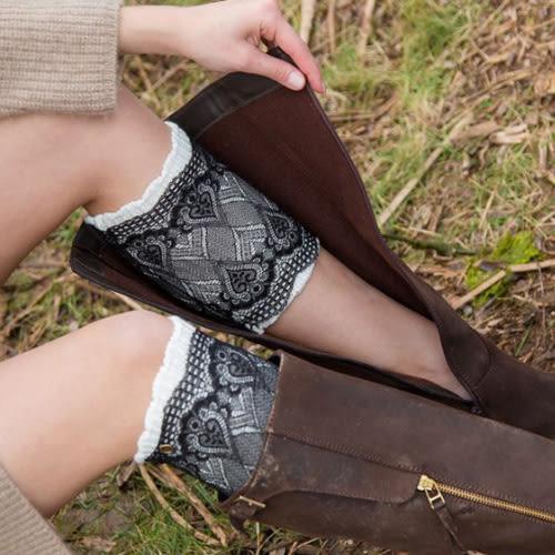 襪套 保暖雙層兩用蕾絲鈕扣毛線針織 - 4色【Ann梨花安】