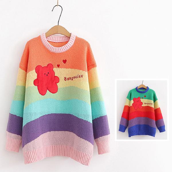 *ORead*日系小清新彩虹條紋小熊針織衫寬鬆套頭毛衣(2色F碼)