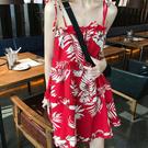 沙灘裙 雪紡紅色洋裝吊帶法式復古女春夏季度假沙灘中長款裙子潮-Ballet朵朵