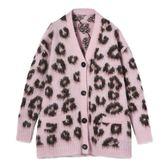 萬聖節狂歡 2018秋冬新款粉色豹紋馬海毛毛衣開衫中長款針織衫外套