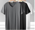 短袖t恤男士v領潮牌2021新款夏季體恤冰絲冰感半袖純色打底衫上衣 設計師