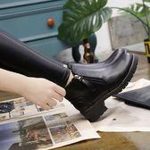 馬丁靴女鞋中跟版百搭粗跟女靴英倫冬鞋加絨短靴潮   傑克型男館