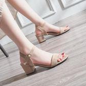 雙11特惠-chic涼鞋女夏中跟軟妹鞋2018新品正韓百搭一字扣高跟鞋粗跟羅馬鞋