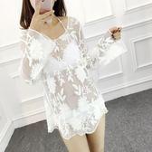 韓國性感比基尼三件套罩衫泳衣女大小胸大碼遮肚鋼托聚攏溫泉泳裝