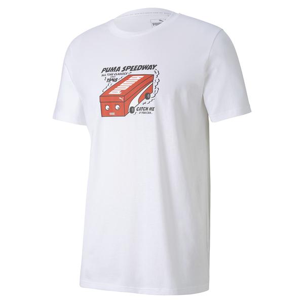 PUMA Shoe Box男款白色鞋盒賽車短袖上衣-NO.59862752