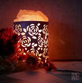 【鹽夢工場】創意造型鹽燈-玫瑰雕花桌燈 (粉)