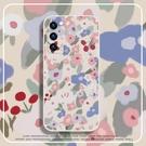 粉白藍碎花朵vivoiqooneo5手機殼真我gtneo液態硅膠鏡頭全包【輕派工作室】