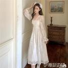 蕾絲洋裝 氣質顯瘦蕾絲長袖2020年新款大擺長裙子仙女秋冬季法式復古連身裙 伊蒂斯