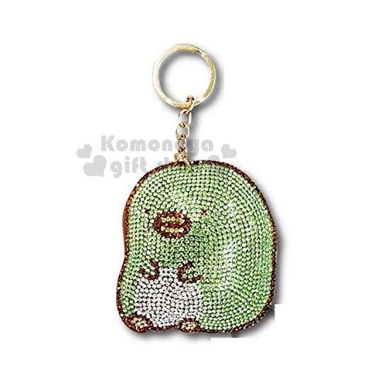〔小禮堂〕角落生物 造型麂皮水鑽吊飾《綠.坐姿》鑰匙圈.掛飾 4990270-11663