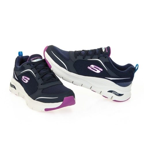 SKECHERS ARCH FIT 女款黑x紫x白透氣耐磨慢跑鞋-NO.149413NVP