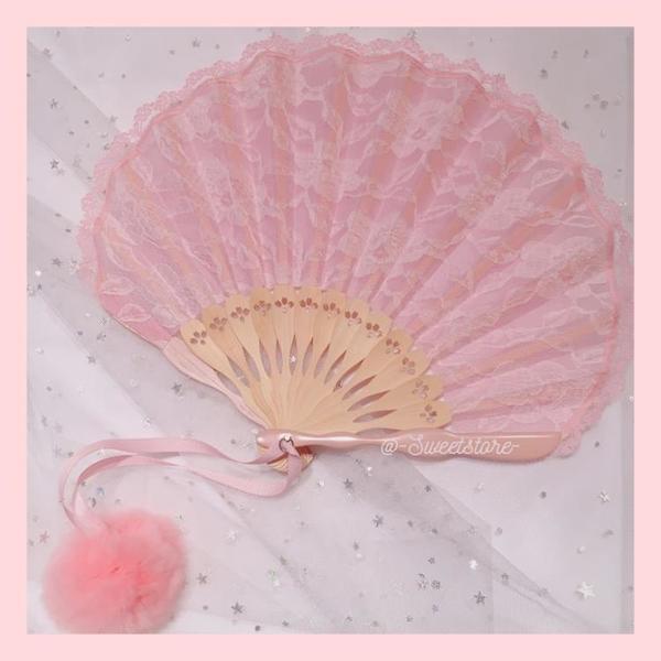 扇子折扇中國復古風隨身便攜puma人氣vintage蕾絲漢服舞蹈小扇子 怦然新品