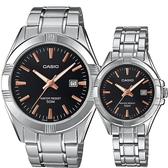 CASIO 卡西歐 城市簡約情侶手錶 對錶-黑x銀 MTP-1308D-1A2V+LTP-1308D-1A2V
