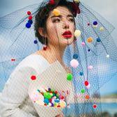 頭紗 新娘硬紗頭飾結婚紗照影樓拍照寫真海邊度假造型蓬蓬頭紗