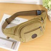 韓版男士帆布腰包時尚潮單肩斜背包休閒運動手機包迷你胸前騎行包『艾麗花園』