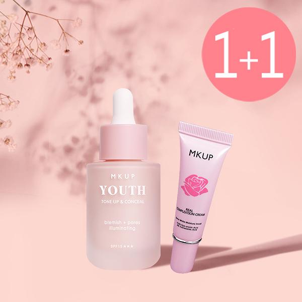 【一袋女王推薦】MKUP 美咖 奇肌幻顏霜 SPF15+++(妝前乳)+賴床美白素顏霜(隨身版)10ML