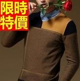 毛衣拼色方格-正韓長袖型男針織衫2色61l59【巴黎精品】
