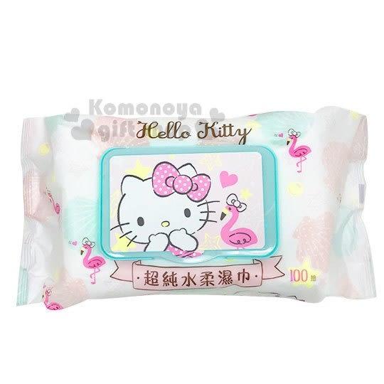 〔小禮堂〕Hello Kitty 100抽附蓋濕紙巾包《白綠.貝殼》柔濕巾.清潔用品 4715664-50379
