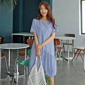 條紋短袖洋裝 立體不規則條紋連身裙 艾爾莎 【TGK7558】