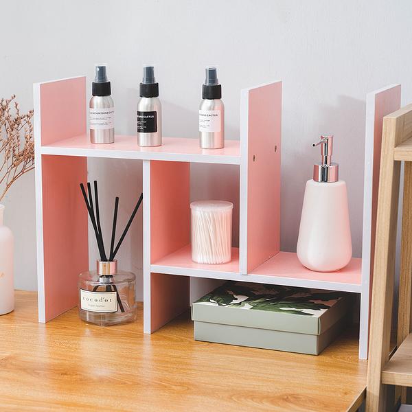 樂嫚妮 H型多用途收納置物伸縮書架-粉色