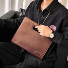 手拿包手提包新款男士復古手提包 潮流男女士 時尚商務文件iPad包辦公包 免運