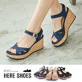 [Here Shoes]涼鞋-MIT台灣製 跟高7.5cm 楔型涼拖鞋 素色純色 交叉鞋面-KGE303