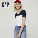 Gap女裝 純棉時尚撞色V領短袖T恤 8...