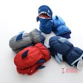 兒童滑雪手套 冬季新款兒童手套加厚保暖卡通鯊魚男童滑雪手套小孩寶寶防滑手套 2色