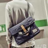 男士包包韓版單肩包斜挎包帆布郵差包死飛包多用商務手提包跨背包   良品鋪子